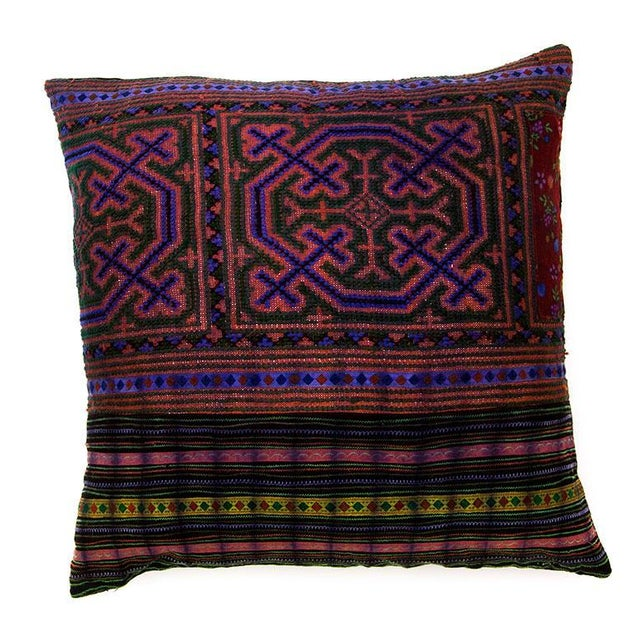 Hill Tribe Pillow - Handmade in Thailand Purple - Image 1 of 4