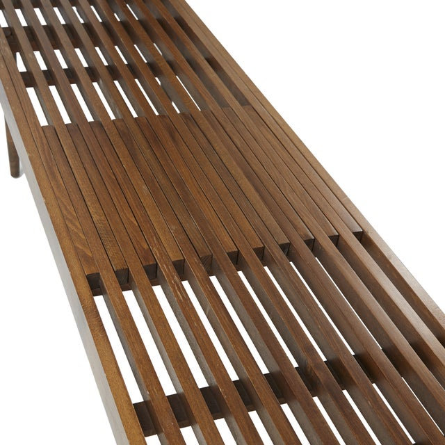 Herman Miller-Style Slatted Wood Bench - Image 2 of 6