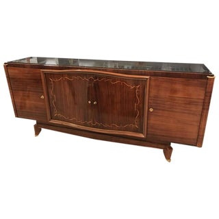 French Art Deco Palisander Buffet with Black Glass Top