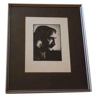 "Signed Luigi ""Gigi"" Meroni Portrait Print"
