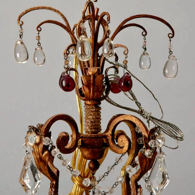 1920's Italian Four Light Crystal Chandelier With Colored Drops - Image 3 of 7