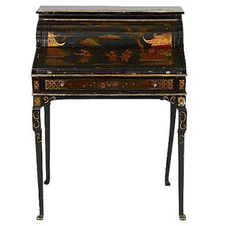 Antique Chinoiserie Queen Anne Style Desk