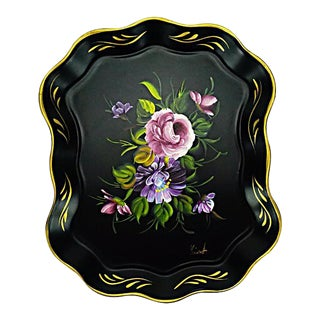 Vintage Hand Painted Floral Tray by Nashco Products