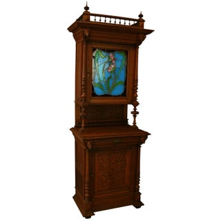 Antique Flemish Oak Hutch with Stained Glass
