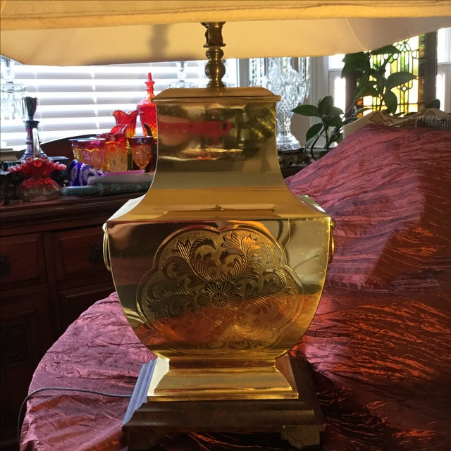 Mid-Century Modern Asian Brass Table Lamp - Image 8 of 11