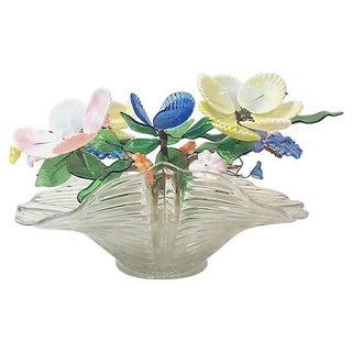Deco Epergne with Venetian Glass Flowers