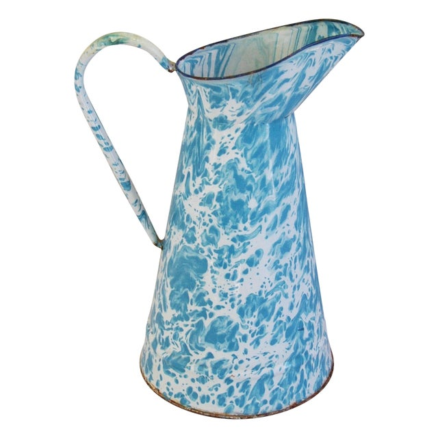 Blue & White French Enameled Porcelain Pitcher - Image 1 of 7