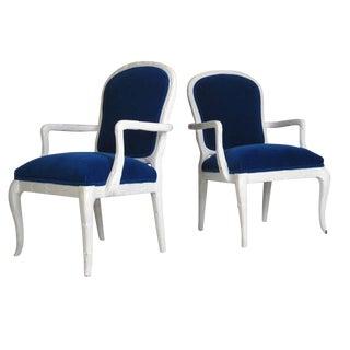 Serge Roche Style Cobalt Mohair Chairs - A Pair
