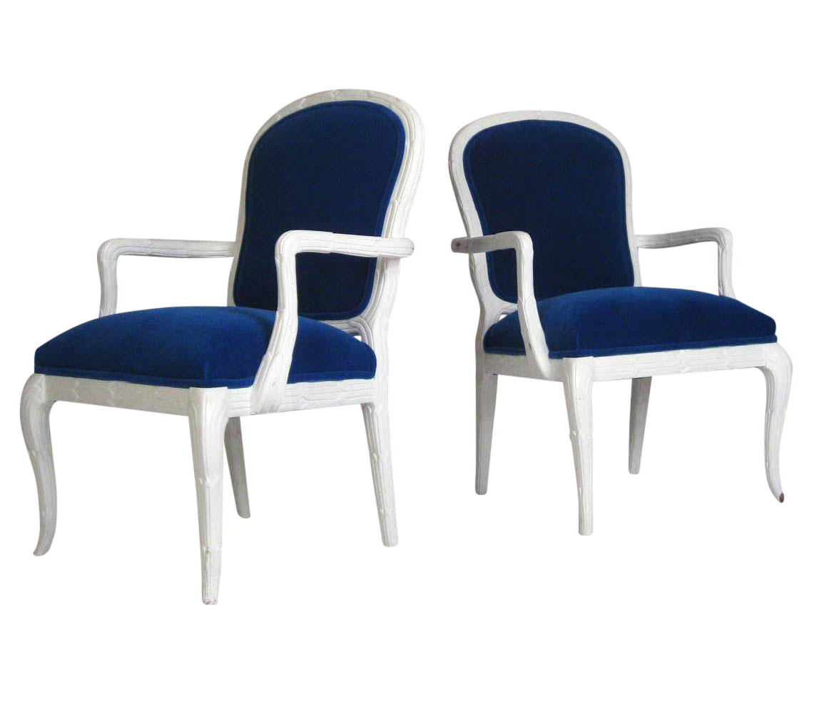 Serge Roche Style Cobalt Mohair Chairs - A Pair : Chairish