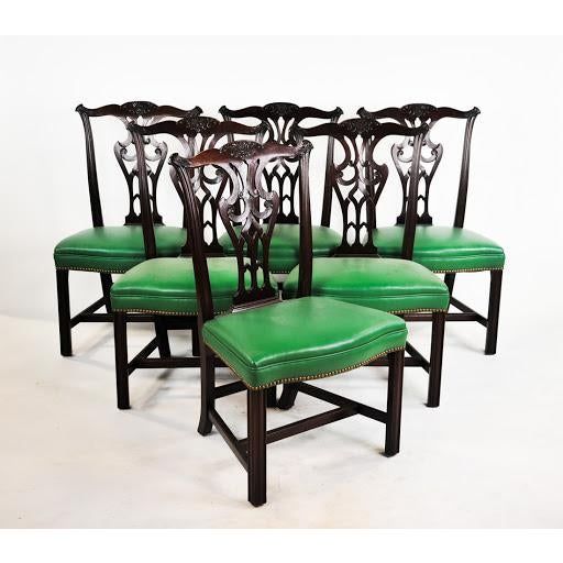 Green Vinyl Upholstered Chippendale Dining Chairs - Set of 6 - Image 2 of 10