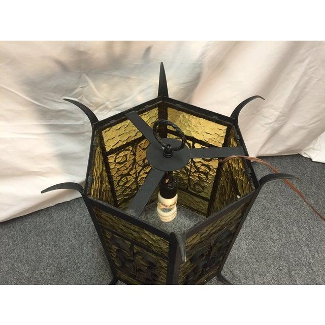 Gothic Spanish Revival Iron Slag Glass Light - Image 4 of 6