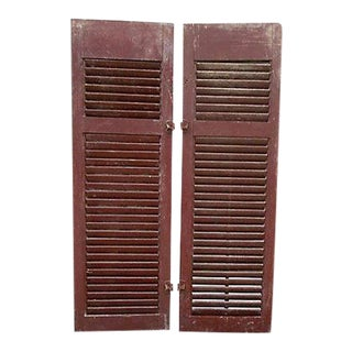 Primitive Red Shutters - A Pair
