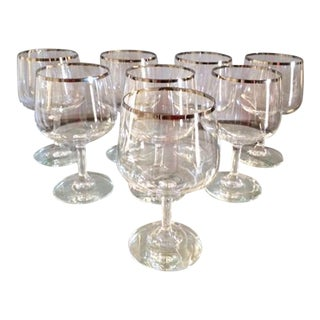 Vintage Crystal Silver Rimmed Wine Goblets - Set of 8
