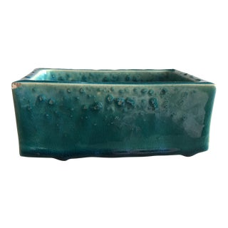 Mid-Century Teal Clay Box
