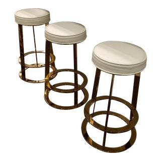 Modern Brass & Leather Cunter Stools - Set of 3