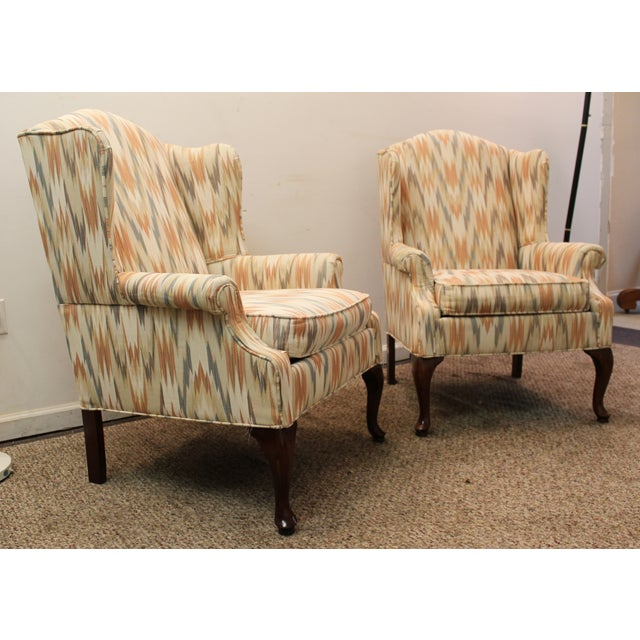 Queen Anne Fireside Wing Chairs by Rowe - Pair - Image 3 of 11