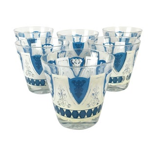 Vintage Blue & White Embossed Glasses- Set of 6
