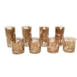 Mid-Century Gold Swirl Glasses - Set of 8