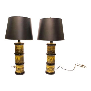 Fornasetti Style Table Lamps - a Pair
