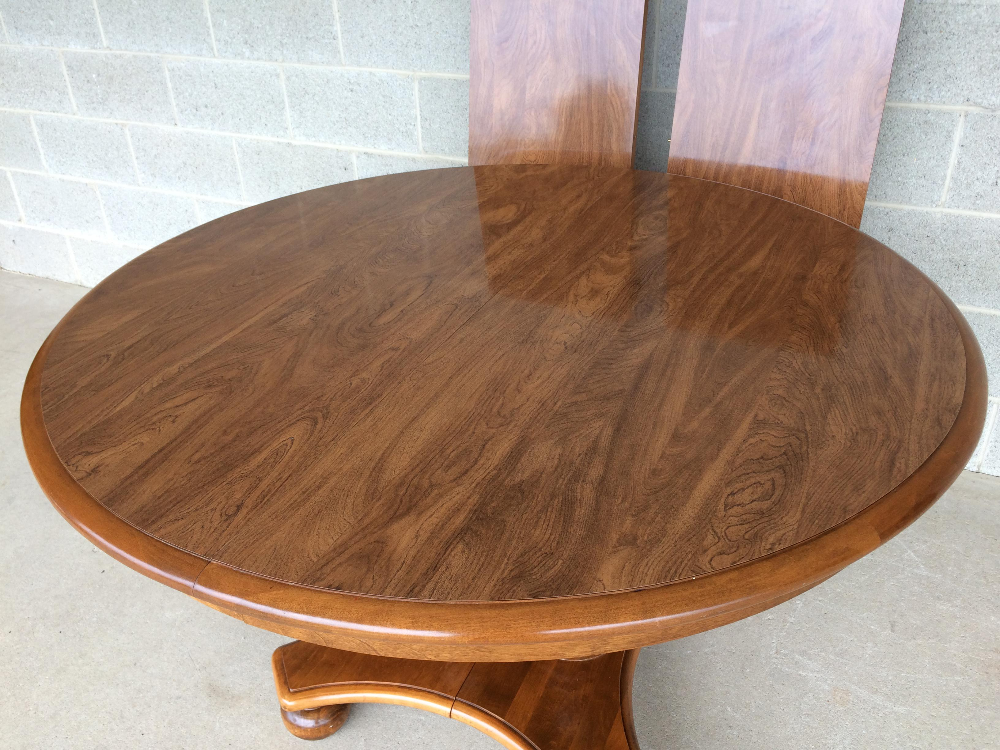 Table With 2 Leaves Part - 32: Ethan Allen Maple Pedestal Dining Table With 2 Leaves - Image 4 Of 10