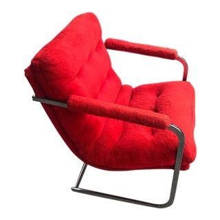 Carson's Mid-Century Red Fur Cantilevered Chair