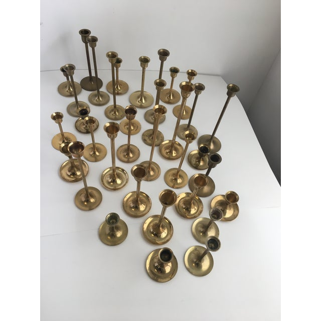 Image of Mid-Century Brass Tulip Candlesticks - Set of 34