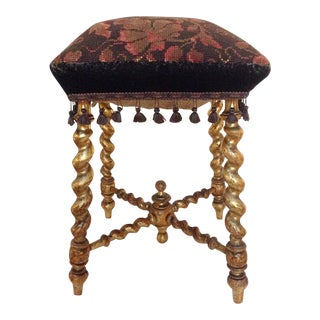 Tapestry Stool With Original Giltwood Finish