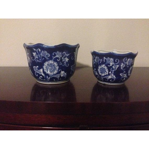 Image of Two Nesting Planters Blue and White Chinoiserie