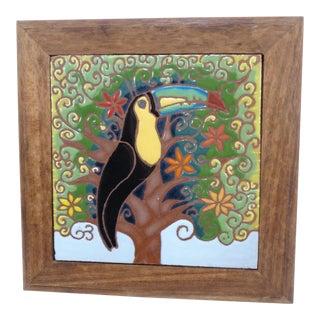 Tropical Toucan Bird Wood Framed Tile Trivet