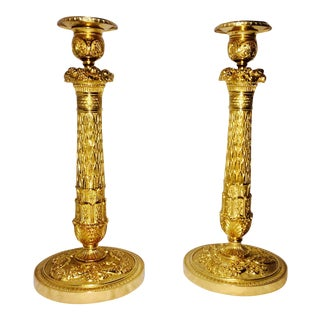 Gilt in Bronze Candle Sticks - A Pair