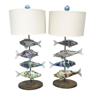 Lamps With Murano Glass Fish - Pair