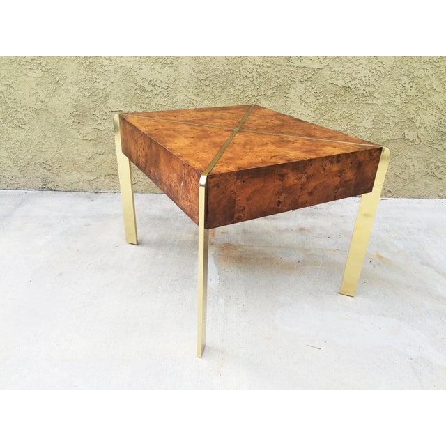 Image of Milo Baughman Burlwood and Brass End Table