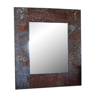 Large Zinc Coffer Framed Mirror