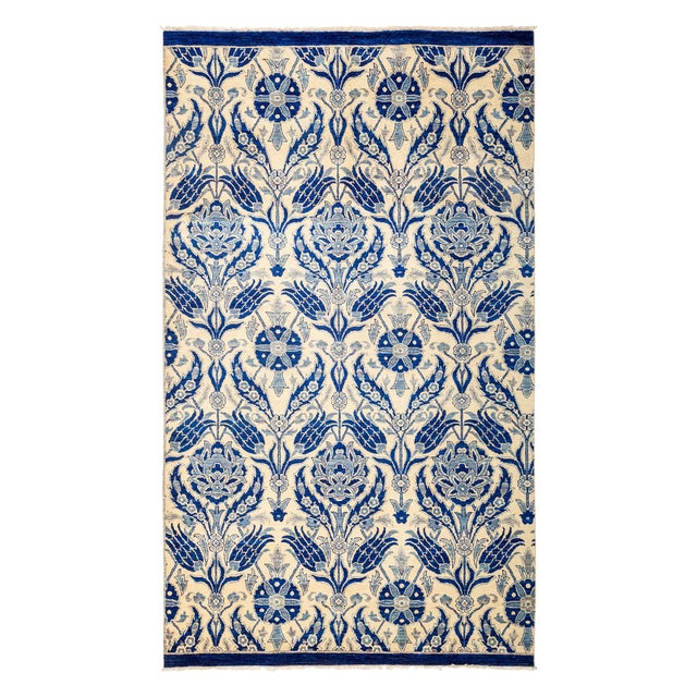 """New Blue Suzani Hand-Knotted Rug - 5'6"""" X 9'4"""" - Image 1 of 3"""
