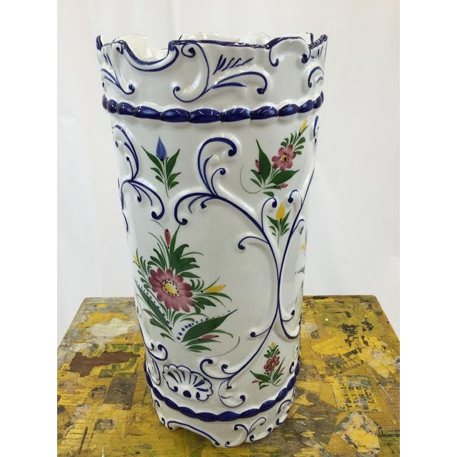 Hand Painted Ceramic Umbrella Stand or Tall Vase - Image 4 of 5