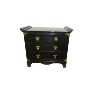 Black Lacquer Miniature 2 Drawer End Table C.1960