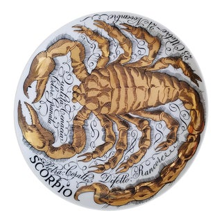 Piero Fornasetti Scorpio Zodiac Porcelain Plate made for Corisia in 1967.