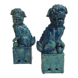 Vintage Ceramic Turquoise Foo Dog on Stand - a Pair