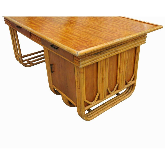 Restored Large Jean Royère Style Streamline Rattan Executive Desk - Image 5 of 8