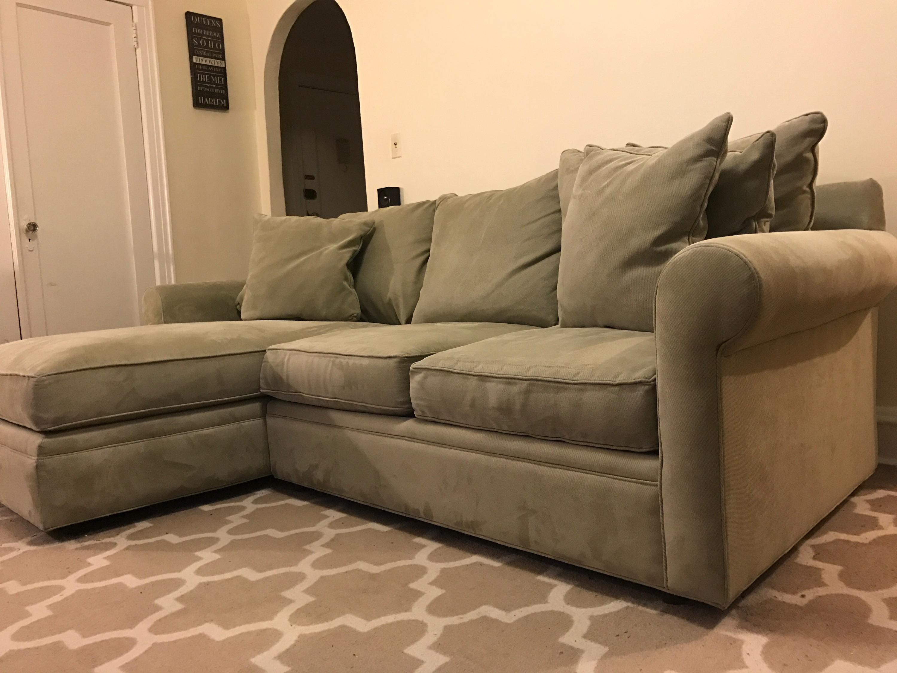 Macyu0027s Doss Microfiber Sectional With Chaise - Image 3 ...  sc 1 st  Chairish : macys chaise - Sectionals, Sofas & Couches