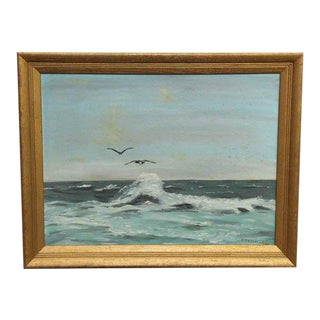 Signed Scenic Ocean Oil Painting