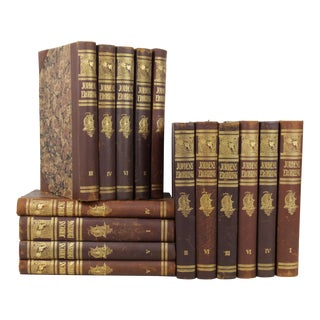 Art Deco Leather-Bound Books - Set of 15
