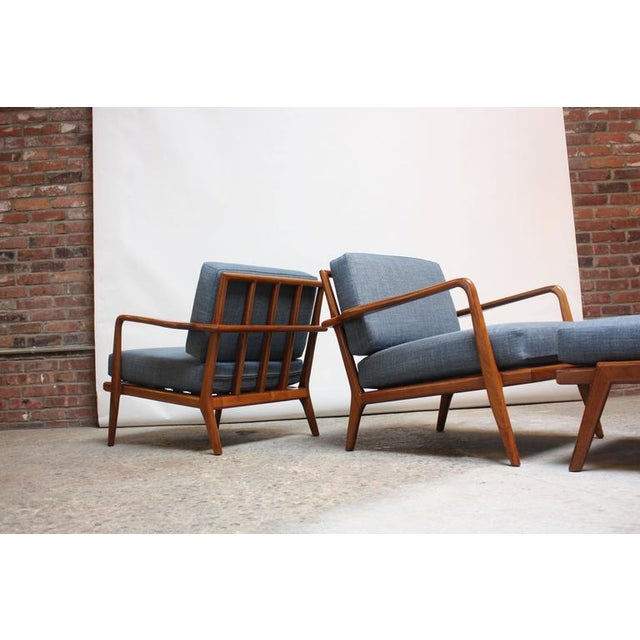 Image of Pair of Mid-Century Walnut Armchairs and Ottoman by Mel Smilow
