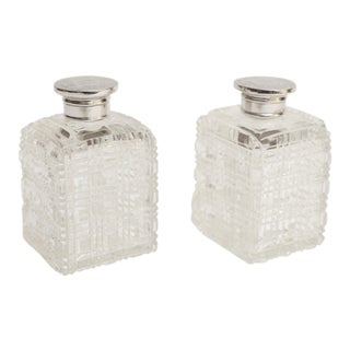 Silver & Crystal Perfume Bottles - a Pair