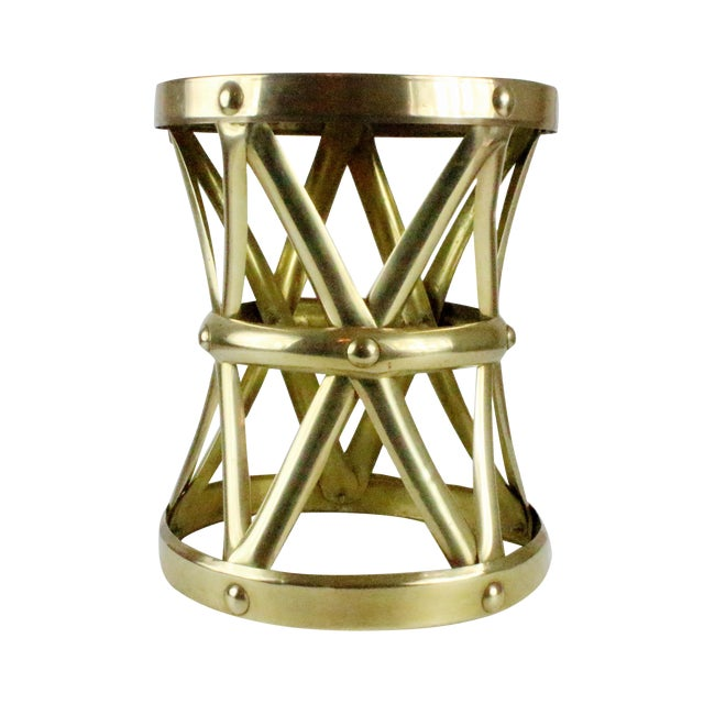 Mid Century Brass X Drum Stool - Image 1 of 8