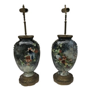 Vintage Hand Painted Floral Lamps - A Pair