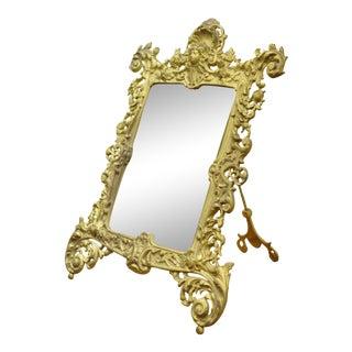 Antique Bradley Hubbard Victorian Gold Gilt Iron Bronze Table Vanity Mirror