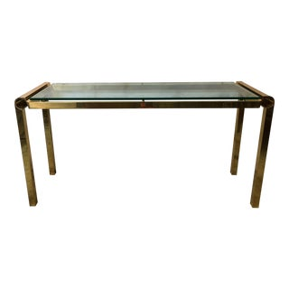 Mid-Century Modern Brass & Glass Console Table