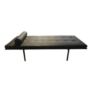 Italian Black Leather Daybed