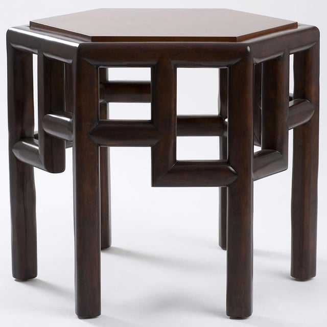 New Bamboo Hexagon Side Table - Image 3 of 10